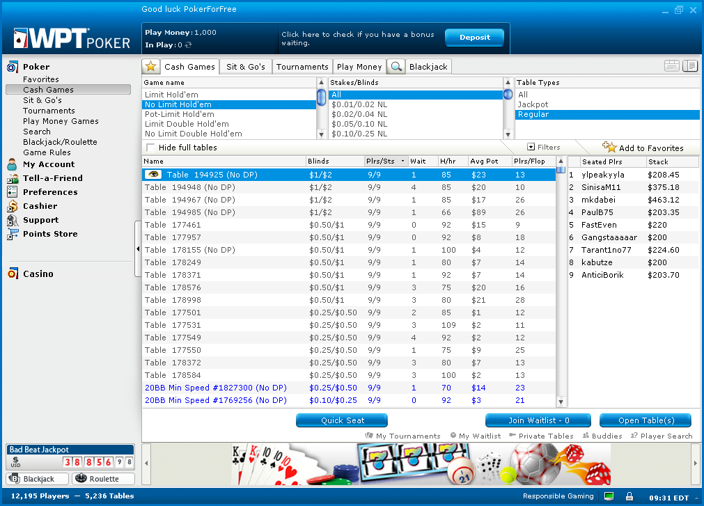 party poker login account